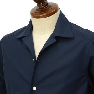 BARBA DANDY LIFE【バルバ ダンディライフ】オープンカラーシャツ PB26585407U コットン ブロード ネイビー|cinqueclassico