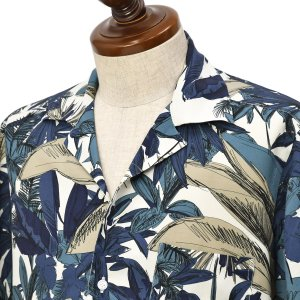 BARBA DANDY LIFE【バルバ ダンディライフ】オープンカラーシャツ PB6643305U レーヨン ボタニカル ネイビー|cinqueclassico