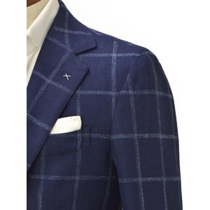 De Petrillo【デ ペトリロ】シングルジャケット  Posillipo TS17082F/226 ビスコース コットン リネン ウィンドペーン ネイビー×ブルー|cinqueclassico|04