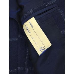 De Petrillo【デ ペトリロ】シングルジャケット  Posillipo TS17082F/226 ビスコース コットン リネン ウィンドペーン ネイビー×ブルー|cinqueclassico|05