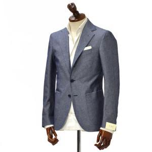 De Petrillo【デ ペトリロ】シングルジャケット  Posillipo 861SU/544 コットン リネン  ブルー|cinqueclassico