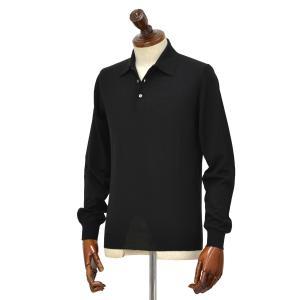 FEDELI【フェデーリ】ハイゲージニットポロシャツ SPORTMAN M.L. LANA 140 7 ウール ブラック|cinqueclassico