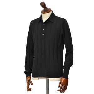 FILIPPO DE LAURENTIIS 【フィリッポ デ ローレンティス】ニットポロシャツ I27661 002 ウール ブラック|cinqueclassico