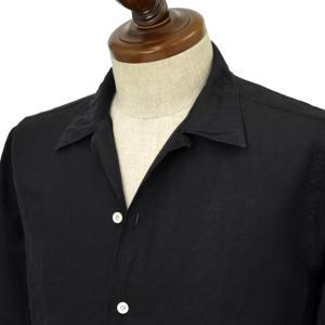 Finamore【フィナモレ】オープンカラーシャツ BART MILOS 080265 20 コットン リネン ブラック|cinqueclassico