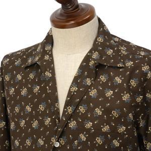 Finamore【フィナモレ】オープンカラーシャツ BART TODDT P9116 02 コットン ボタニカル ブラウン|cinqueclassico