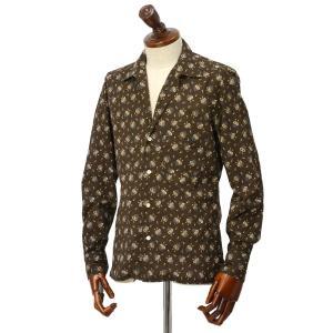 Finamore【フィナモレ】オープンカラーシャツ BART TODDT P9116 02 コットン ボタニカル ブラウン|cinqueclassico|02