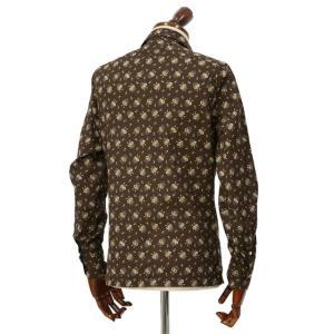 Finamore【フィナモレ】オープンカラーシャツ BART TODDT P9116 02 コットン ボタニカル ブラウン|cinqueclassico|03