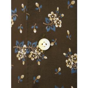 Finamore【フィナモレ】オープンカラーシャツ BART TODDT P9116 02 コットン ボタニカル ブラウン|cinqueclassico|04