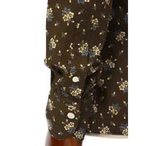 Finamore【フィナモレ】オープンカラーシャツ BART TODDT P9116 02 コットン ボタニカル ブラウン|cinqueclassico|05