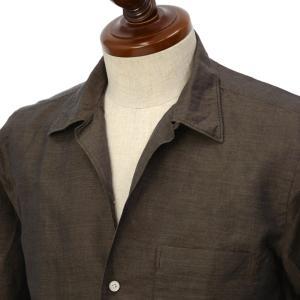 Finamore【フィナモレ】オープンカラーシャツ BART TODDT P9063 06 コットン リネン ブラウン|cinqueclassico