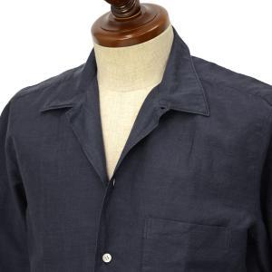 Finamore【フィナモレ】オープンカラーシャツ BART TODDT P9063 04 コットン リネン ネイビー|cinqueclassico