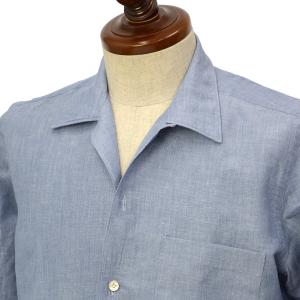 Finamore【フィナモレ】オープンカラーシャツ BART TODDT P9033 01 コットン リネン サックスブルー|cinqueclassico