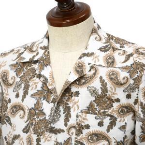 Finamore【フィナモレ】オープンカラーシャツ BART TODDT P9116 01 コットン ボタニカル ホワイト×ブラウン|cinqueclassico