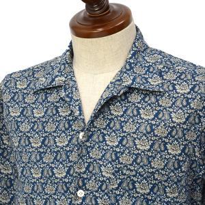 Finamore【フィナモレ】オープンカラーシャツ BART TODDT P9116 04 コットン ボタニカル ネイビー×ホワイト|cinqueclassico