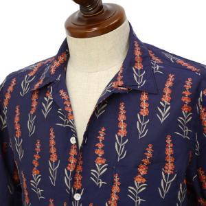 Finamore【フィナモレ】オープンカラーシャツ BART TODDT P9218 01 コットン ジャガード ボタニカル ネイビー|cinqueclassico