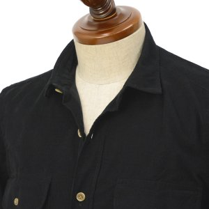 Finamore【フィナモレ】CPOシャツ CLARK A9078 10 コットン コーデュロイ ブラック|cinqueclassico