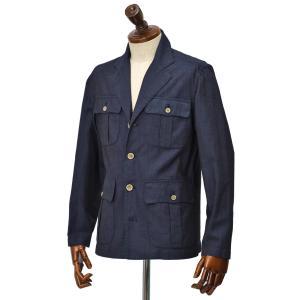 Finamore【フィナモレ】サファリシャツジャケット GRANT P2079D 01 コットン インディゴブルー|cinqueclassico