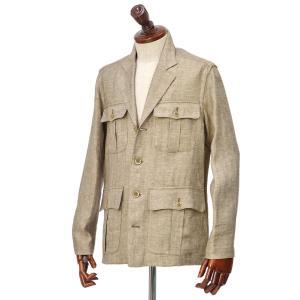 Finamore【フィナモレ】サファリシャツジャケット GRANT P2041 04 リネン ブラウン|cinqueclassico