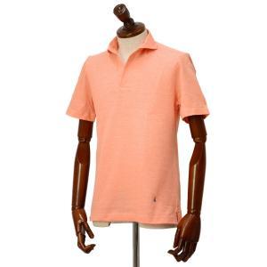 GUY ROVER【ギローバー】 半袖スキッパーポロシャツ PC221J 591503 12 鹿の子 スキッパー オレンジ|cinqueclassico