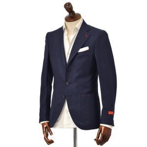 ISAIA【イザイア】 シングルジャケット 8503H 800 8C SAILOR  ウール リネン ネイビー|cinqueclassico