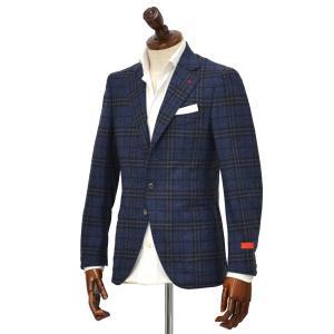 ISAIA【イザイア】 シングルジャケット 8551P 820 8C SAILOR セイラー ウール  グレンチェック  ブルー|cinqueclassico