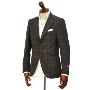 ISAIA【イザイア】 シングルジャケット 8551Y 450 8C SAILOR セイラー ウール  ウィンドペーン ブラウン × ネイビー|cinqueclassico
