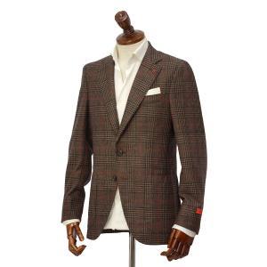 【size50】ISAIA【イザイア】 シングルジャケット 89711 430 8R SAILOR セイラー ウール シルク  グレンチェック ブラウン|cinqueclassico