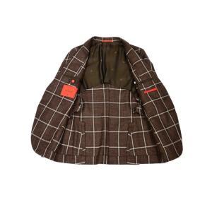 ISAIA【イザイア】 シングルジャケット 8155N 470 8C SAILOR ウール シルク リネン ウィンドペーン ブラウン×ホワイト|cinqueclassico|03