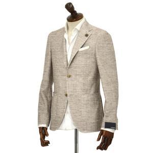 LARDINI【ラルディーニ】 シングルジャケット JM0560AQ EERJ50576/1 コットン リネン ジャージー ホワイト×ブラウン|cinqueclassico
