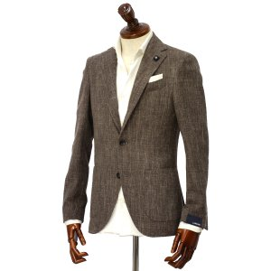 LARDINI【ラルディーニ】 シングルジャケット JP0526AQ RP52593 12  ウール コットン リネン メランジ ブラウン|cinqueclassico