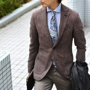 LARDINI【ラルディーニ】 シングルジャケット JP0526AQ RP52593 12  ウール コットン リネン メランジ ブラウン|cinqueclassico|09