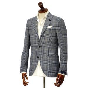 先行販売 早得 【袖修理無料】LARDINI【ラルディーニ】 シングルジャケット JP0526AQ RP52599 4  ウール  リネン シルク グレンプレイド  グレー|cinqueclassico