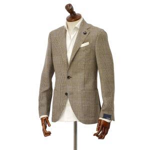 LARDINI【ラルディーニ】 シングルジャケット JP0526AQ RP52599 6 ウール  リネン シルク グレンプレイド  ブラウン|cinqueclassico