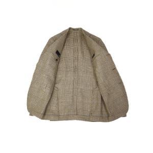 LARDINI【ラルディーニ】 シングルジャケット JP0526AQ RP52599 6 ウール  リネン シルク グレンプレイド  ブラウン|cinqueclassico|03