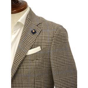 LARDINI【ラルディーニ】 シングルジャケット JP0526AQ RP52599 6 ウール  リネン シルク グレンプレイド  ブラウン|cinqueclassico|04