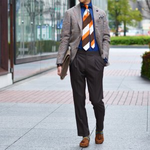 LARDINI【ラルディーニ】 シングルジャケット JP0526AQ RP52599 6 ウール  リネン シルク グレンプレイド  ブラウン|cinqueclassico|09