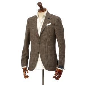 LARDINI【ラルディーニ】 シングルジャケット JP0526AQ RP52594 3 ウール  コットン リネン シルク グレンチェック  ブラウン|cinqueclassico