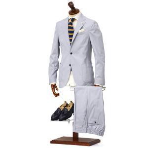 LARDINI【ラルディーニ】シングルスーツ JP073AQ EGEW52810 2 EASY コットン コードレーン ブルー×ホワイト|cinqueclassico