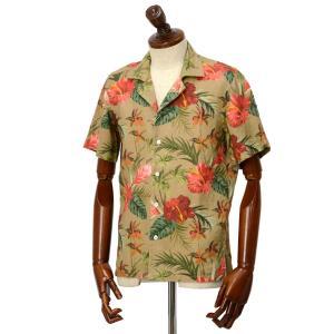 Mario Muscariello【マリオムスカリエッロ】オープンカラーシャツ HONOLULU mu952.xpf#6 リネン ボタニカル ベージュ|cinqueclassico