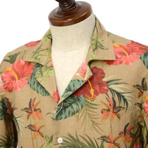 Mario Muscariello【マリオムスカリエッロ】オープンカラーシャツ HONOLULU mu952.xpf#6 リネン ボタニカル ベージュ|cinqueclassico|02