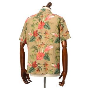 Mario Muscariello【マリオムスカリエッロ】オープンカラーシャツ HONOLULU mu952.xpf#6 リネン ボタニカル ベージュ|cinqueclassico|03