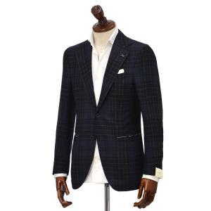 De Petrillo【デ ペトリロ】シングルジャケット Posillipo TW19209F/483  ウール チェック ネイビー×グレー cinqueclassico