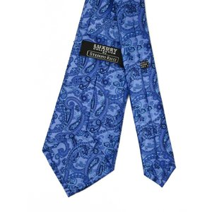 STEFANO RICCI【ステファノリッチ】25014 011 プリーツネクタイ シルク ペイズリー ブルー×サックス|cinqueclassico|03