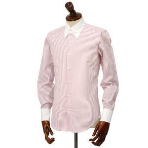 Maria Santangelo【マリアサンタンジェロ】ドレスシャツ TAB PIUM TWILL F357135 35BB コットン ストライプ クレリック  ピンク×ホワイト|cinqueclassico|02