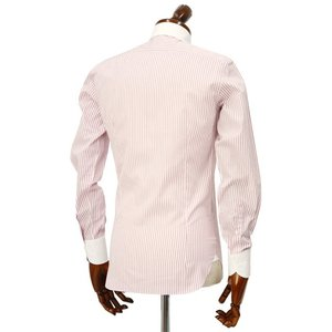 Maria Santangelo【マリアサンタンジェロ】ドレスシャツ TAB PIUM TWILL F357135 35BB コットン ストライプ クレリック  ピンク×ホワイト|cinqueclassico|03