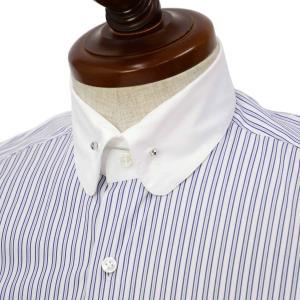 Maria Santangelo【マリアサンタンジェロ】ドレスシャツ BYRON PINS PIUMINO 100-120 F357109 15BB  コットン ストライプ クレリック ブルー×ホワイト|cinqueclassico