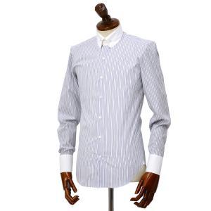 Maria Santangelo【マリアサンタンジェロ】ドレスシャツ BYRON PINS PIUMINO 100-120 F357109 15BB  コットン ストライプ クレリック ブルー×ホワイト cinqueclassico 02