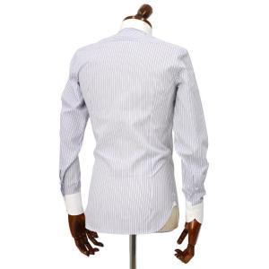 Maria Santangelo【マリアサンタンジェロ】ドレスシャツ BYRON PINS PIUMINO 100-120 F357109 15BB  コットン ストライプ クレリック ブルー×ホワイト cinqueclassico 03