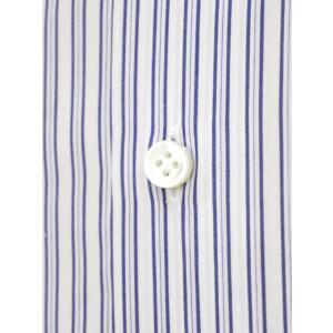 Maria Santangelo【マリアサンタンジェロ】ドレスシャツ BYRON PINS PIUMINO 100-120 F357109 15BB  コットン ストライプ クレリック ブルー×ホワイト cinqueclassico 04