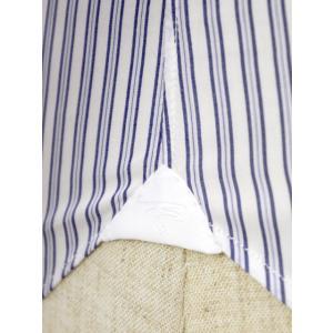 Maria Santangelo【マリアサンタンジェロ】ドレスシャツ BYRON PINS PIUMINO 100-120 F357109 15BB  コットン ストライプ クレリック ブルー×ホワイト cinqueclassico 05